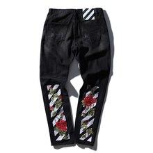 ВЫСОКОЕ качество кремовый вышивка джинсы Разорвал Джинсы Колено Отверстие молния мужские шаровары брюки Разрушенные Torn страх божий бегунов байкер