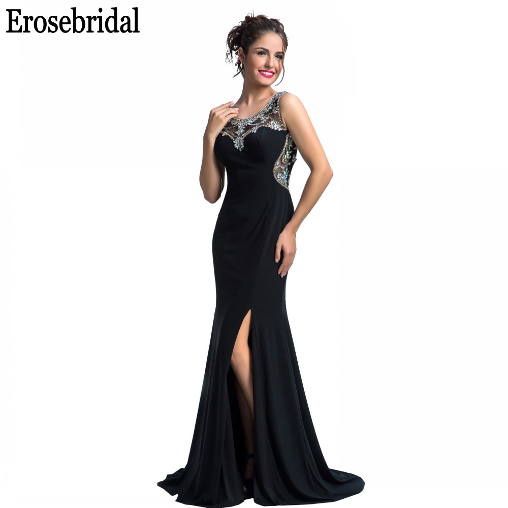 [Clearance Sale] Erosebridal Sexy Illusion Back Long Prom Dress With Front Split Beaded Sheer Neck Formal Women Evening Wear