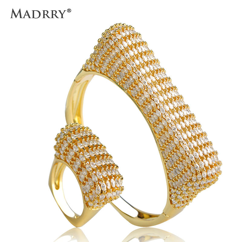 Madrry Personality Bangle & Ring Jewelry Sets AAA Cubic Zirconia Inlay Copper Metal Women Wedding Accessories Pulseira Joias