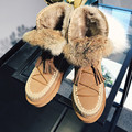 2016 Brand Tassel Genuine Leather Shoes Women Winter Boots Fashion Plush Warm Ankle Boots Women Flat Casual Furry Snow Boots