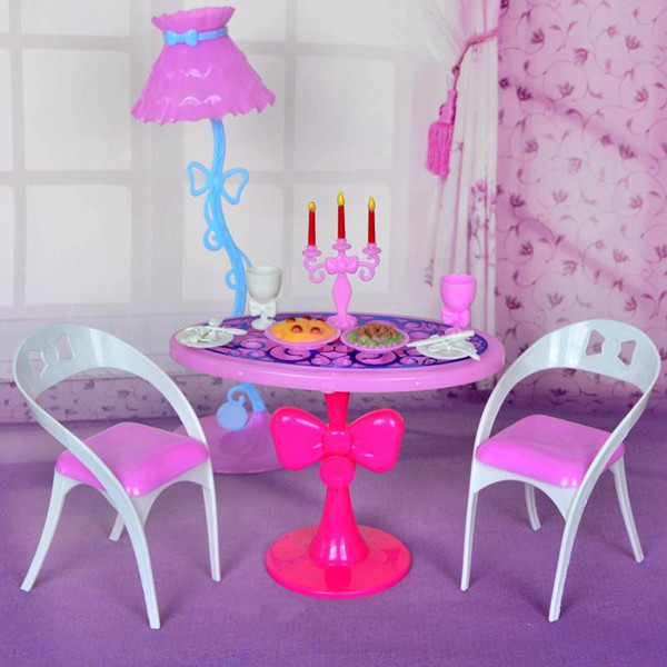 8pcs set Lovely Miniature Vintage Furniture Table Chairs Toys Furniture Sets Dolls Accessories Toys For Doll