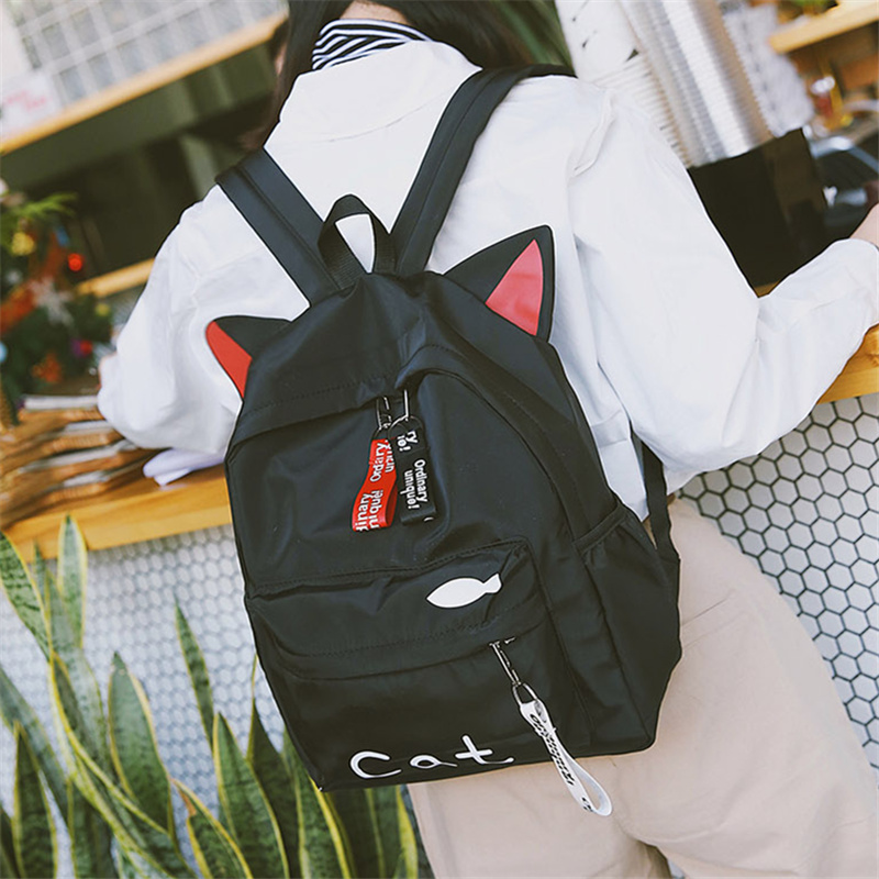 Harajuku Lovely Cat Printing Backpack Women Nylon Backpack Street Bags For Teenagers Casual Cute Korea Kawaii Bunny Ear RucksackHarajuku Lovely Cat Printing Backpack Women Nylon Backpack Street Bags For Teenagers Casual Cute Korea Kawaii Bunny Ear Rucksack