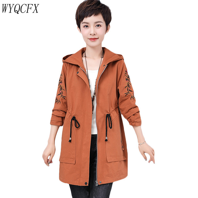 2019 New Spring Autumn Hooded Long   Trench   Coat Women Plus Size 5XL Embroidery Windbreaker Adjustable Waist Female Overcoats W260