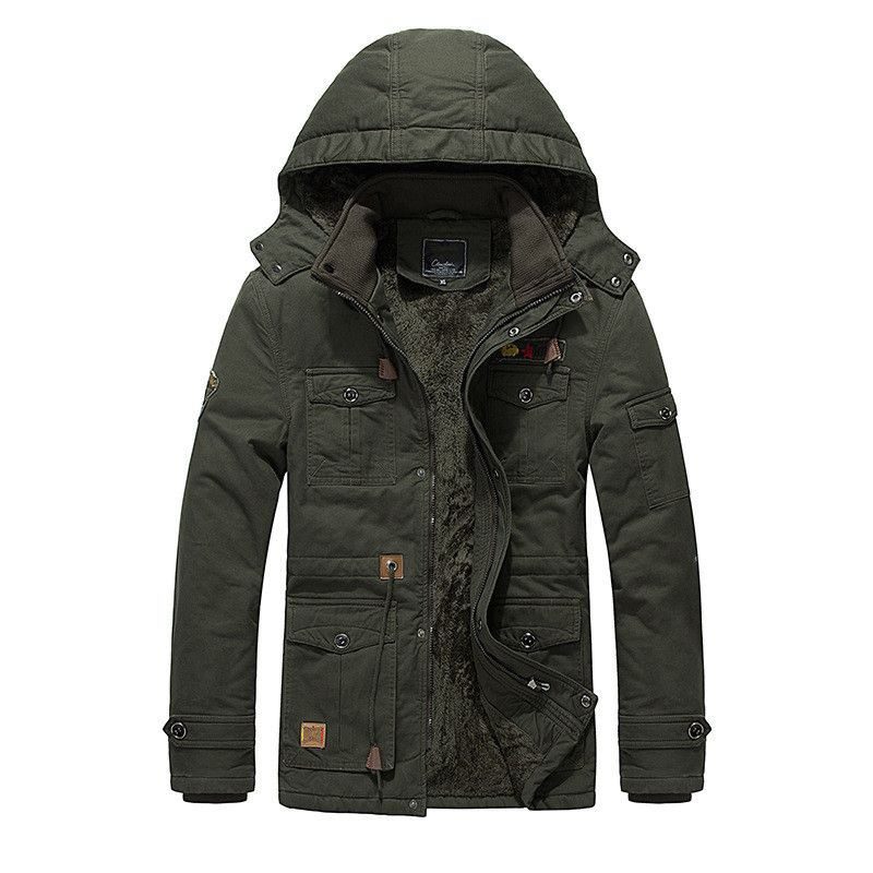 Военная Униформа армии Стиль однотонная зимняя утепленная парка Куртки модные теплые рабочие толстые пальто мужские ветровки с капюшоном ...