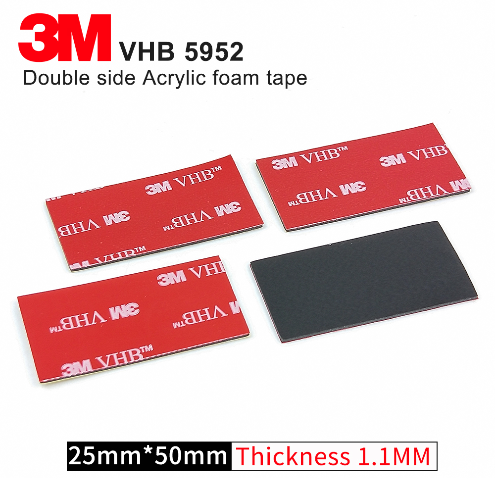 10Pcs/Lot 3M VHB 5952 Heavy Duty Double Sided Adhesive Acrylic Foam Tape Good For Car Camcorder DVR Holder,Size 25mm*50mm