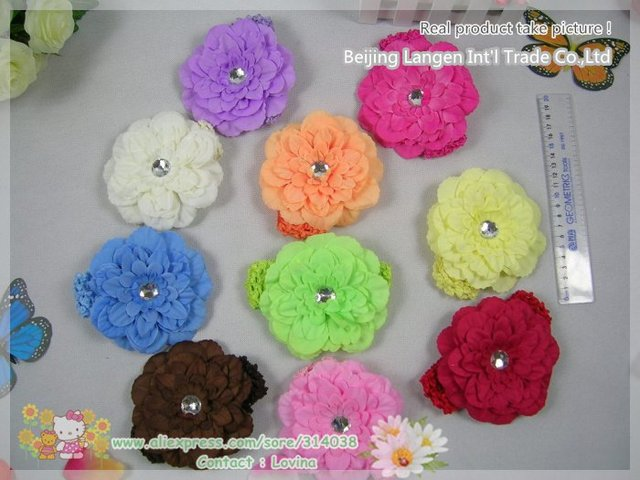 Free Shiping Wholesale 40%Discount now 20pieces /LOT 4inch Gerbera Daisy flower+headband+clip toghter Children Head Accessories