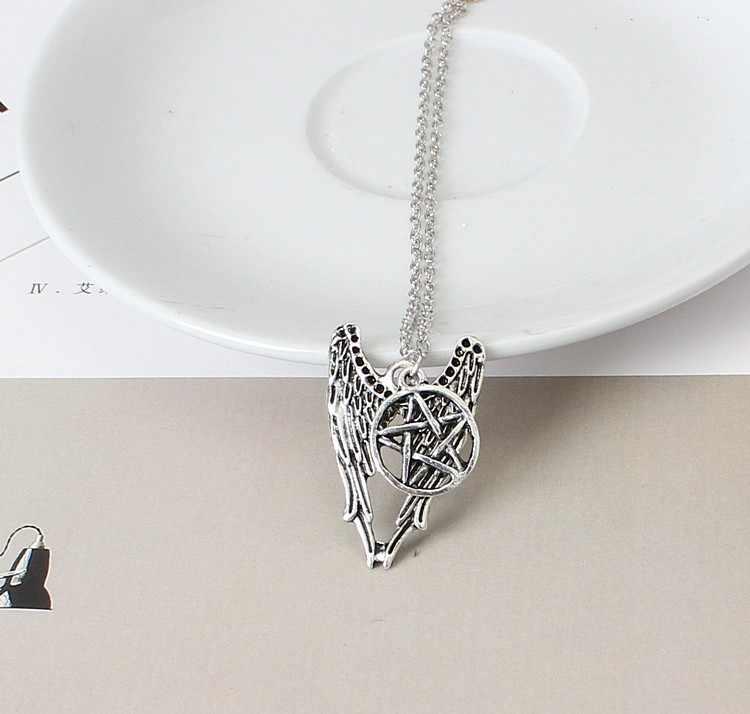 2018 Новый антикварное серебро пятиконечная звезда кулон крылья Ангела Необычное Ожерелье Для женщин подарочные серьги