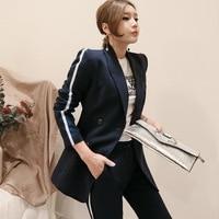 Set female 2018 autumn temperament casual Slim long coat jacket + straight nine pants elegant fashion two piece suit wild women