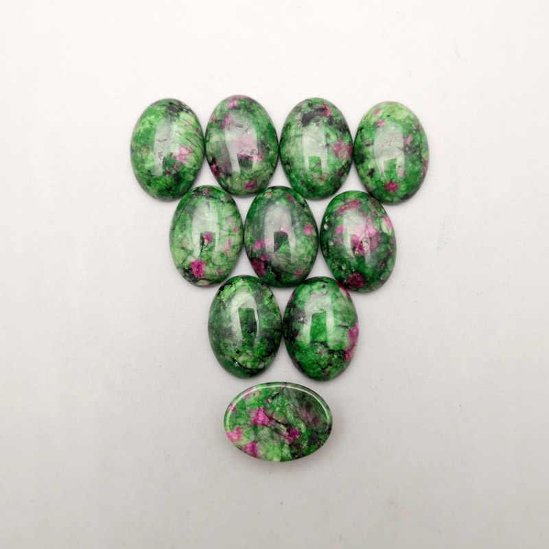 Moda 50 pçs/lote Epidote Pedra Natural Beads jóias para fazer 13x18mm Anel Cabochão oval Brincos acessórios sem buraco