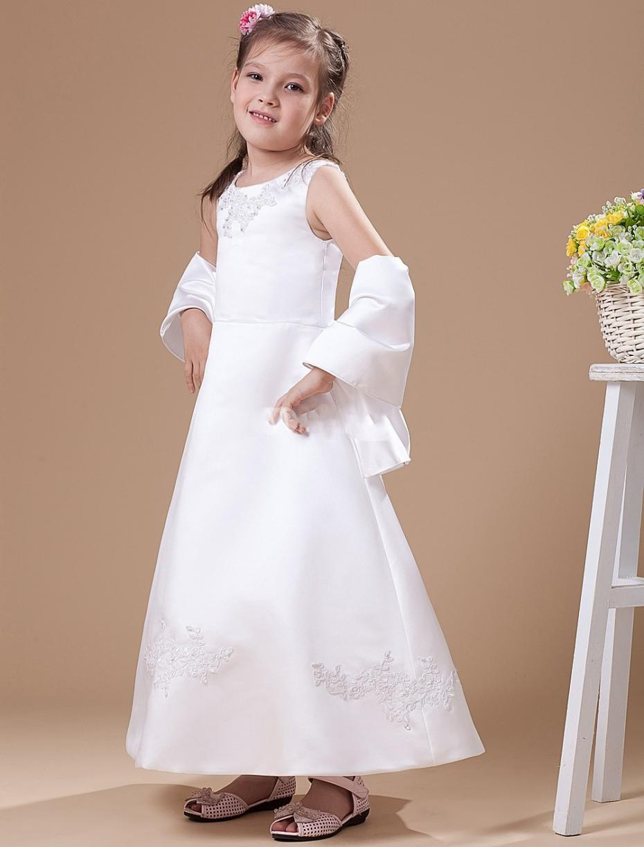 041be702760 Scoop Satin Appliques Long White Flower Girl Dresses For Weddings First  Communion Dresses Vestidos Daminha