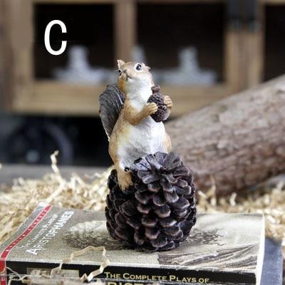 Ameriška podeželska smola veverica z oreščki Umetne figurice - Dekor za dom - Fotografija 5