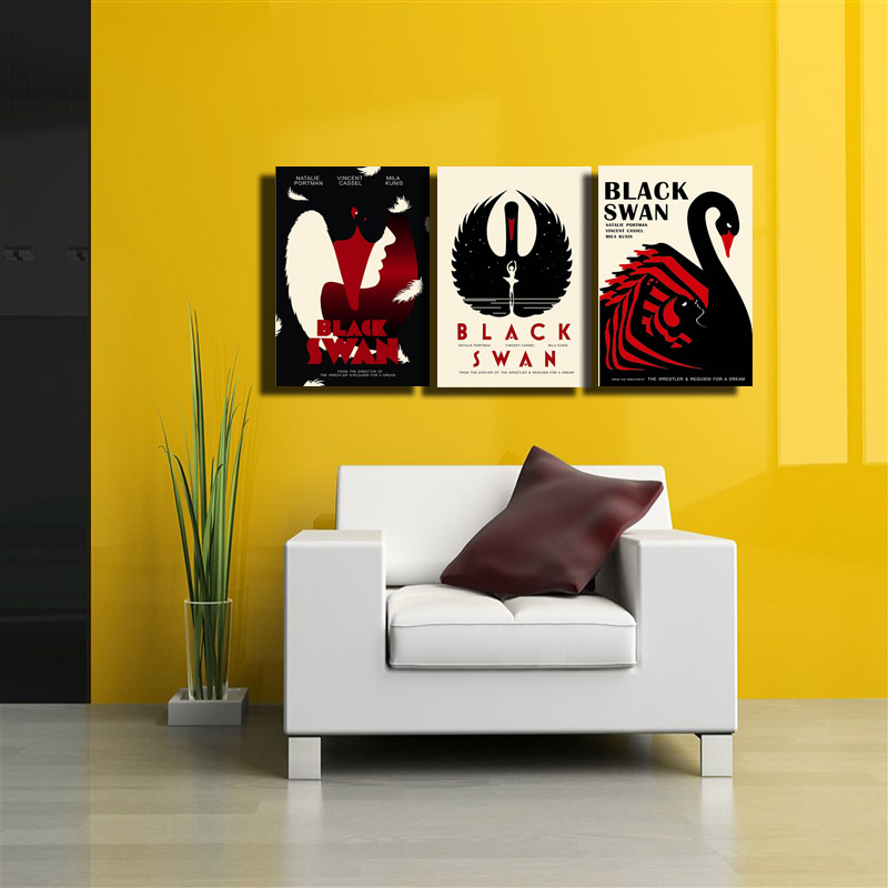 3 Panel beautiful black swan cartoon Animal and letters Wall Decor ...