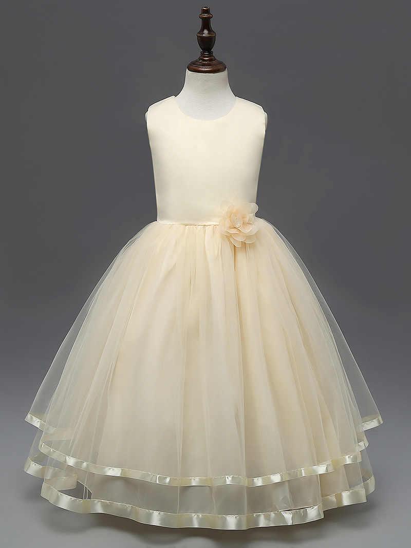 6b17b1f2a ... Ropa de niños blanco caliente Rosa beige aqua vestidos para niñas  tamaño formal 5 a 12 ...