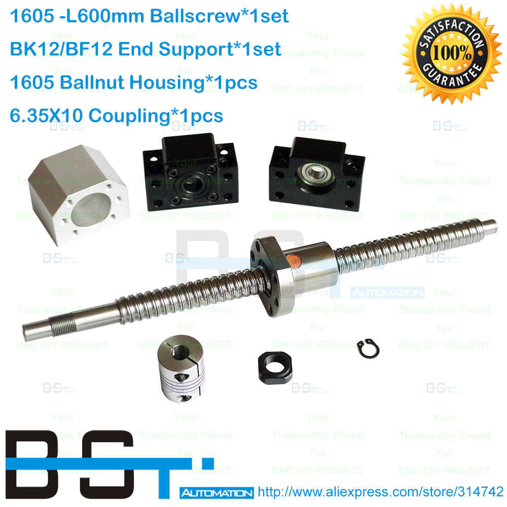 New Anti Backlash Ballscrew RM1605 L600m SFU1605 Ballnut BK12 BF12 Support 1605 Nut Housing Bracket 6