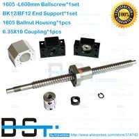 New Anti Backlash Ballscrew RM1605 - L600m SFU1605 Ballnut + BK12 BF12 Support + 1605 Nut Housing Bracket + 6.35*10 Coupler