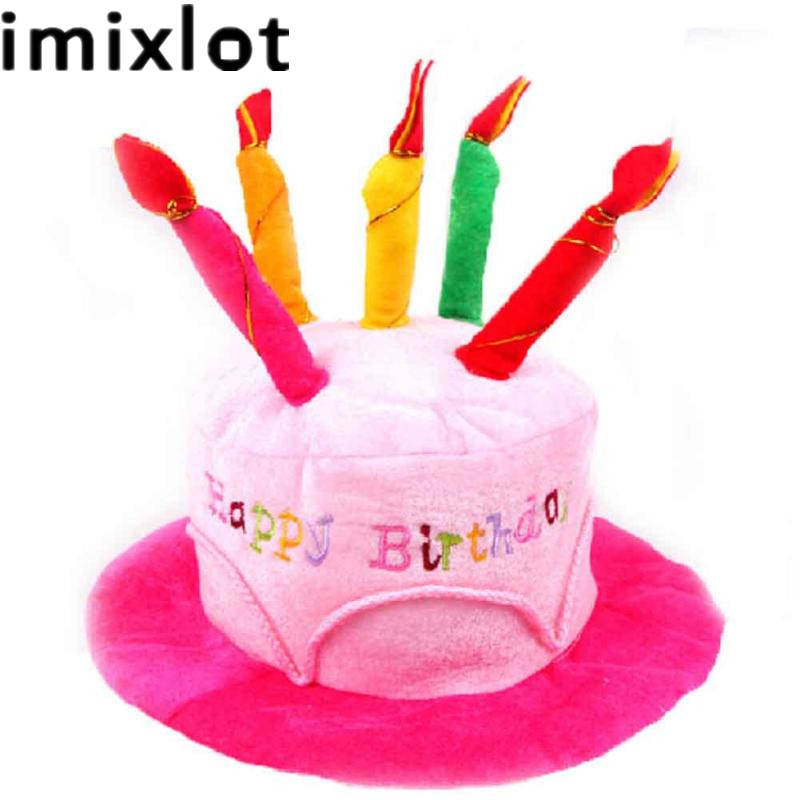 Imixlot Creative Hat Plush Soft Happy Birthday Cake With Candles Cap Children Party Dress Decor Accessory