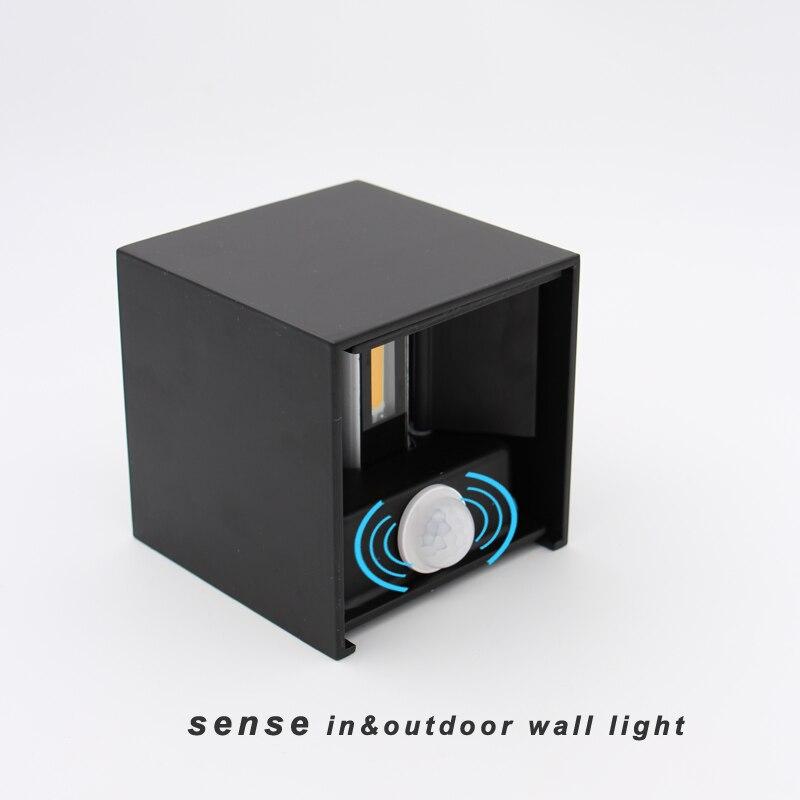 Cube étanche in & outdoor led mur lampe, ajustable up down sens led mur lumière d'entrée 100-240 v