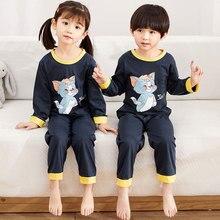 Купить с кэшбэком 2019 Spring New Children's Pajamas Suit Girls Long-sleeved boys Trousers Baby Cotton Kids Sleepwear Children pijamas set