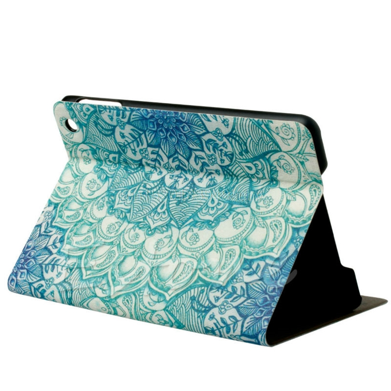 OOTDTY Fashion Green Flower Floral Pattern Flip Stand Leather Case Cover Holster For Apple iPad Mini 123 Retina HOT Tablets Case for apple ipad air 2 pu leather case luxury silk pattern stand smart cover