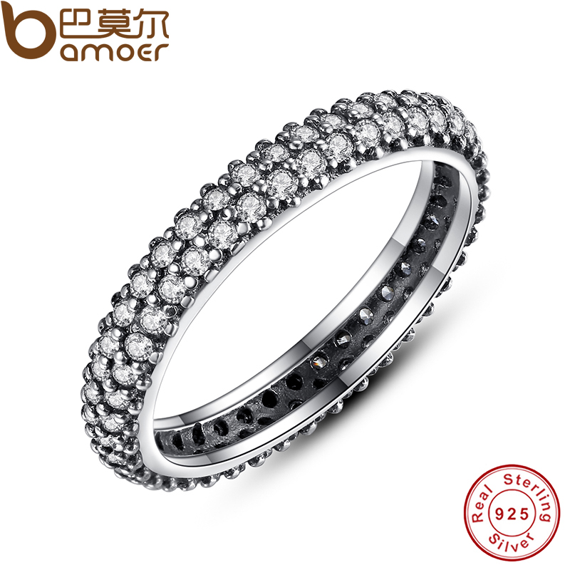 BAMOER 100% 925 Sterling Silver Inspiration Within Stackable Ring Clear CZ Crystal Luxury Jewelry Gift PA7128 цена и фото