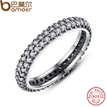 df17fd8447f6 BAMOER 100% plata esterlina 925 inspiración dentro apilable anillo claro CZ  cristal joyas de lujo regalo PA7128