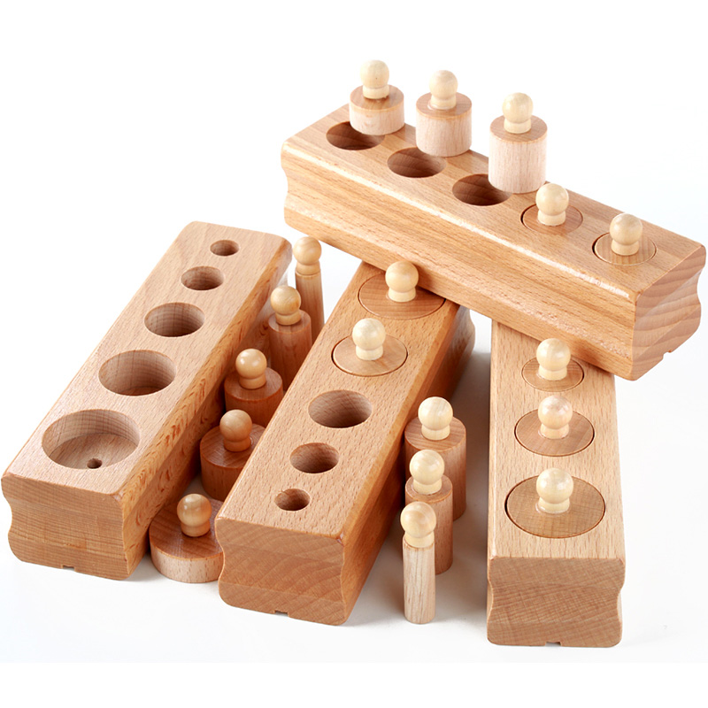 New 4pcs Set Montessori Educational Wooden Toys For Children Cylinder Socket Blocks Toy Baby Development Practice And Senses