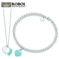 ROBOL Infinity Authentic 100% 925 Sterling Green Silver Tiff Bracelet Love Set Bracelet Women Romantic Gift Charm Jewelry Design