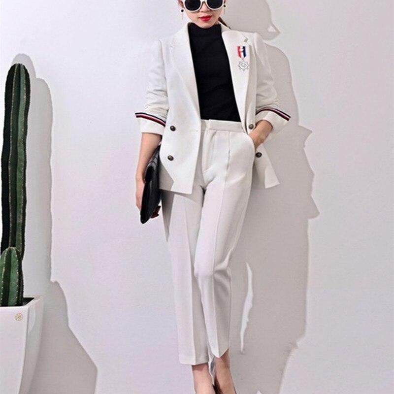 2017 חדש חליפות רשמיות לנשים משרד עסקים מקרית Suitspants ערכות בגדי עבודה אחיד סגנונות חליפות מכנסיים אלגנטיות J17CT0006