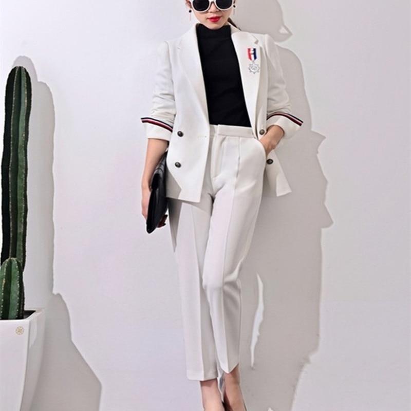 2017 Nové formální obleky pro ženy Příležitostné kancelářské suitspants Pracovní oblečení Sady Jednotné styly Elegantní kalhoty J17CT0006