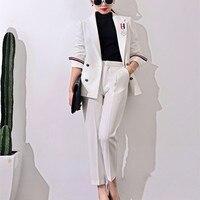 2017 neue Formale Anzüge für Frauen Casual Büro Business Suitspants Arbeitskleidung Sets Uniform Styles Elegante Hose-klagen J17CT0006