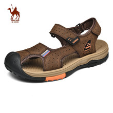 CAMEL JINGE Beach Sandals Men Outdoor Leather Sports Light Weight Hiking Water Sandalias Trekking Hombres Verano