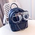 Girl's Fashion Backpacks Punk Street Style PU Leather Mini Bags Rivet Glasses Decoration Backpacks For Women Travel Bags mochila