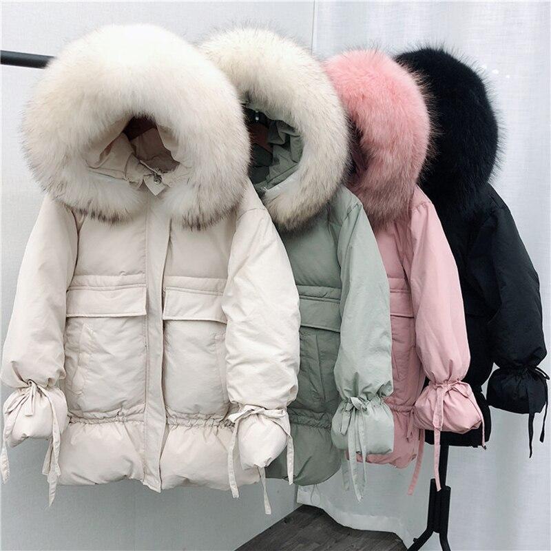 Women Winter White Duck Down Jackets Large Natural Raccoon Fur Hooded Warm Coat Lantern Sleeve Sweet Loose   Parkas   Pink Outwear