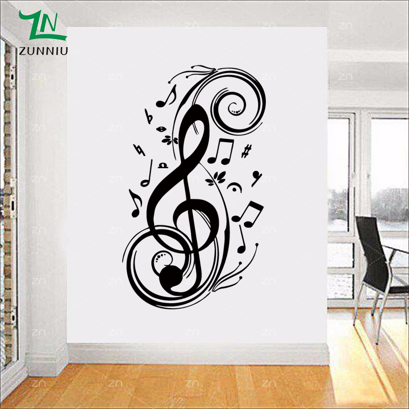 ∞LH075 Fashion art music notes musical spectrum DIY removable wall ...