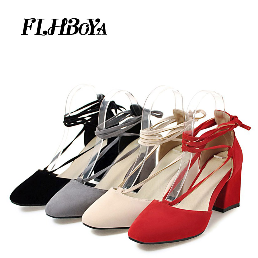 New Fashion Summer Block heels Pumps Women Black Red Gray Flock Med Square Heels Pointed Toe Buckle Strap Ladies Sandals shoes summer new pointed thick chunky high heels closed toe pumps with buckle ankle wraps sweet sandals women pink black gray 34 40