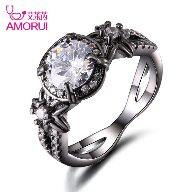 Amorui vendimia blanco birthstone anillo de compromiso bague negro oro color CZ piedra flor bodas Anillos para las mujeres hombres joyería