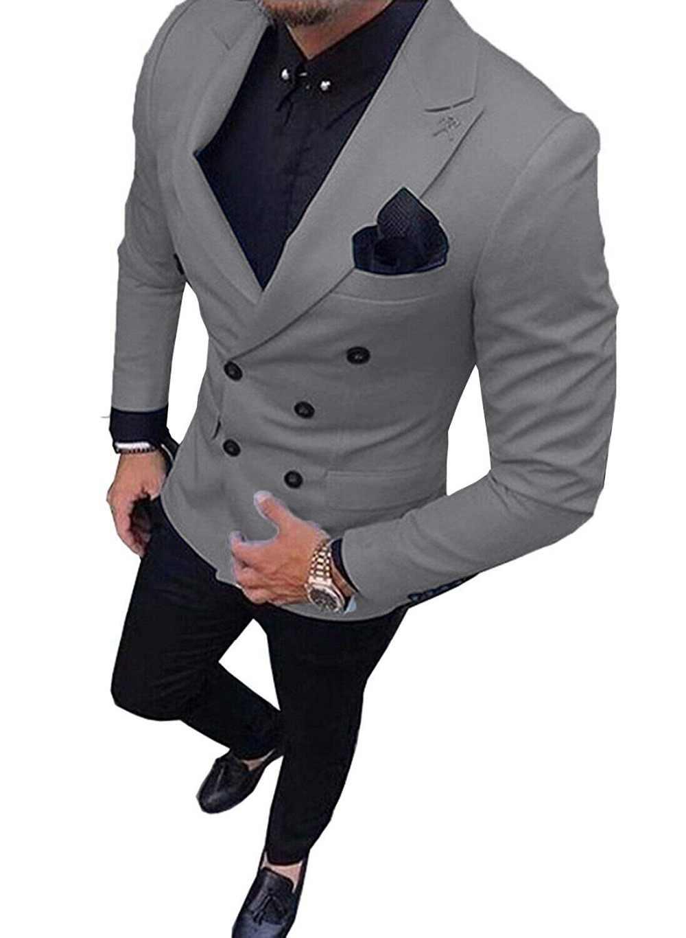 メンズスーツスリムフィット 2 個ダブルブレストビジネス新郎ジャケットタキシードブレザースーツ結婚式ウエディングイブニング (ブレザー + パンツ)
