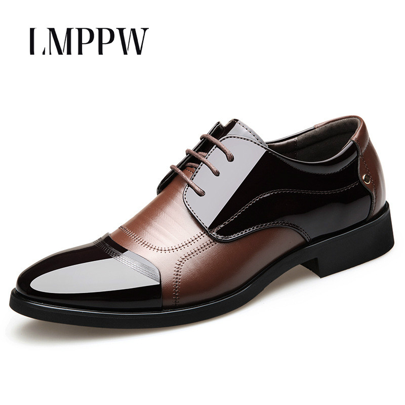 New 2018 Formal Dress Men Shoes Business Office Leather Shoes Black Brown Men's Wedding Shoes Breathable Casual Men Oxford Shoes
