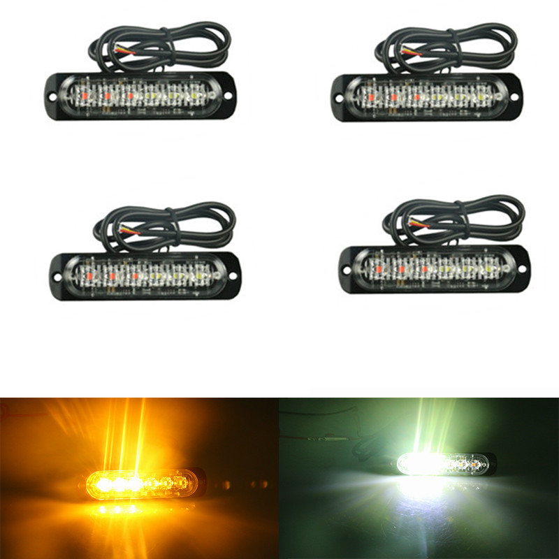 4pc 12 24V Side strobe marker lights Car Truck 6 LED Amber Flashing Emergency Hazard Warning Lamp white&yellow blue&red 4x 4 led car flash truck emergency beacon light bar hazard strobe warning amber white blue red