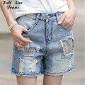 Remiendo de la vendimia Más Tamaño Hasta La Rodilla Pantalones Cortos para Mujeres Destroyed Bagy Denim Short Jeans Bermudas Shorts de Gran Tamaño 4XL 5XL 6XL S