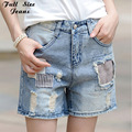 Vintage Patchwork Plus Size Knee Length Shorts for Women Destroyed Denim Short Bagy Jeans Oversize Bermudas Shorts 4XL 6XL 5XL S