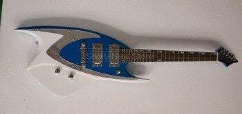 Nueva tienda Shelly, personalizado de fábrica, azul chispa metálico fish shark, 6 cuerdas, afinadores de bloqueo, guitarra eléctrica, tienda de instrumentos musicales