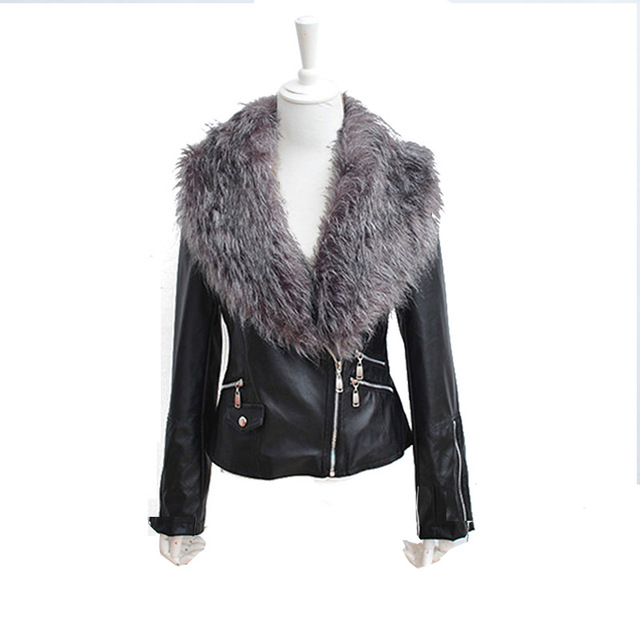 Faroonee Leather Jacket with Faux Fox Fur Collar Women Autumn Coat Female Slim Short Outerwear Overcoat Plus Size 3X
