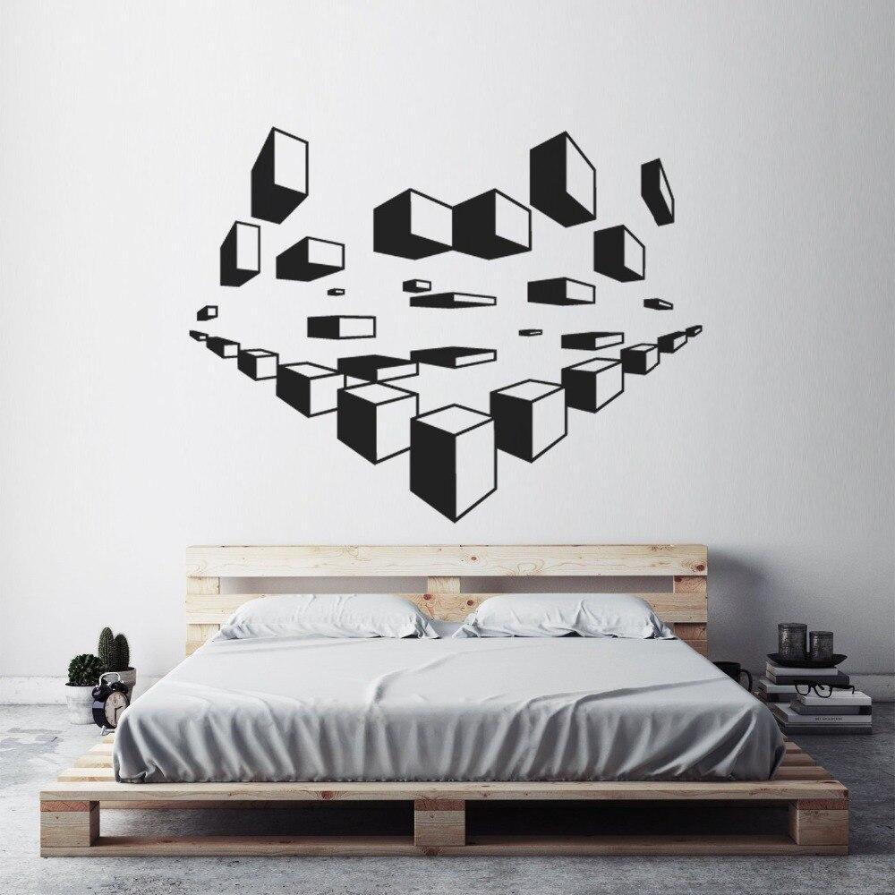 Geometris Dinding Seni Decals Desain Modern Wallpaper Rumah Dekorasi Kamar Tidur 3d Stiker Dinding Pola Geometris Dinding Mural Ay1495 Wall Stickers Aliexpress