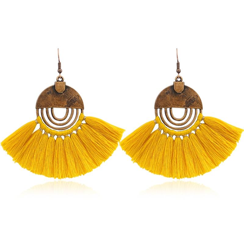 Hollow Round Bronze Tassel Earrings Retro Charm Multicolor Tassel Earrings Bohemian Women Fashion Jewelry Holiday Accessories