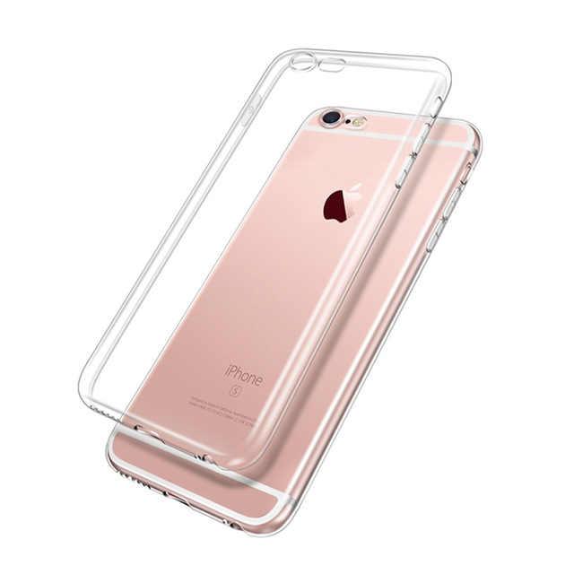 Ultra delgada de silicona caja del teléfono del TPU para el iPhone 6 6 S 6 6 s 7 7 Plus 6 6 S 7 caso plus 8 Plus 5 5S SE 4S carcasa cubierta transparente