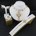 Joyería de la perla de accesorios De La Boda de oro fino Collar de La Borla de La manera femenina Pendientes Anillo Pulsera