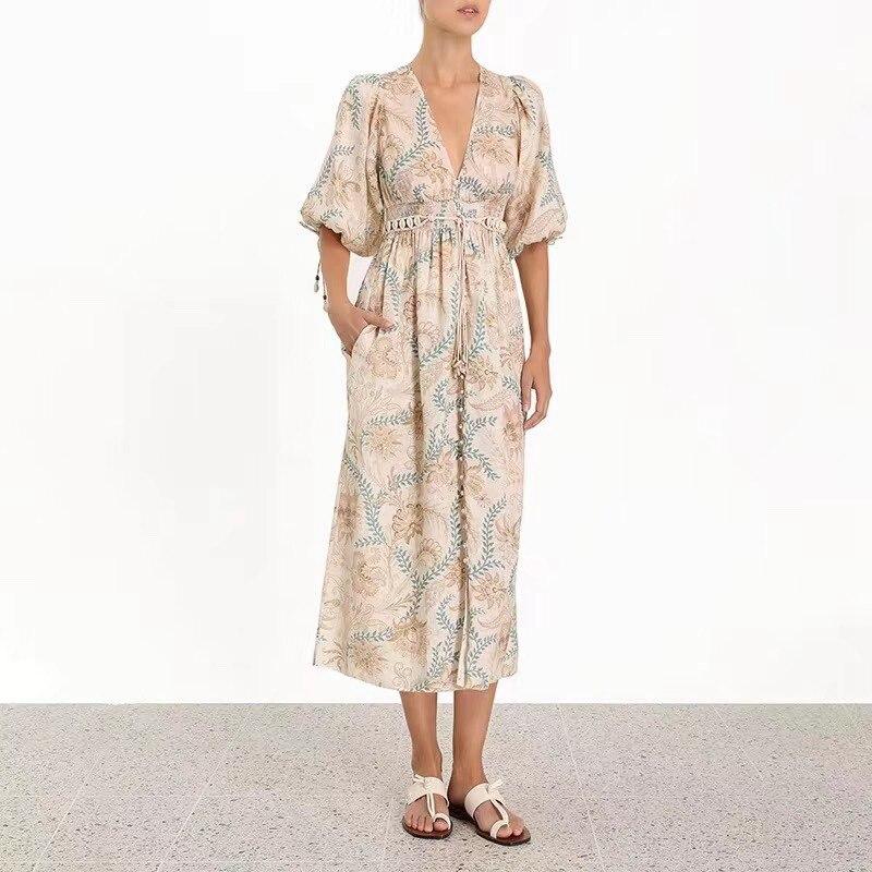 2019 ZIM Designer robe d'été femmes imprimé Floral col en V à manches courtes Maxi robes femme mode vacances Boho robe