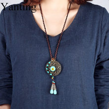 Yanting long statement necklace blue stone vintage copper alloy choker necklace women ethnic jewelry handmade neclace gift(China)