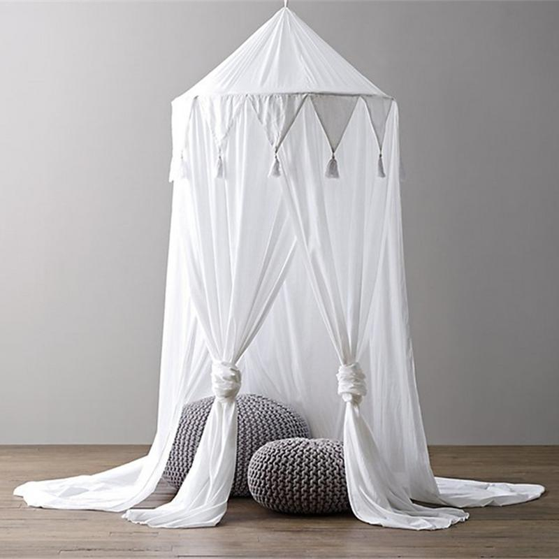 New Style Children's White Pink Grey Triangle Tassel Chiffon Tent Baby Photography Prop Baby Crib Mosquito Net Dream Tent недорго, оригинальная цена